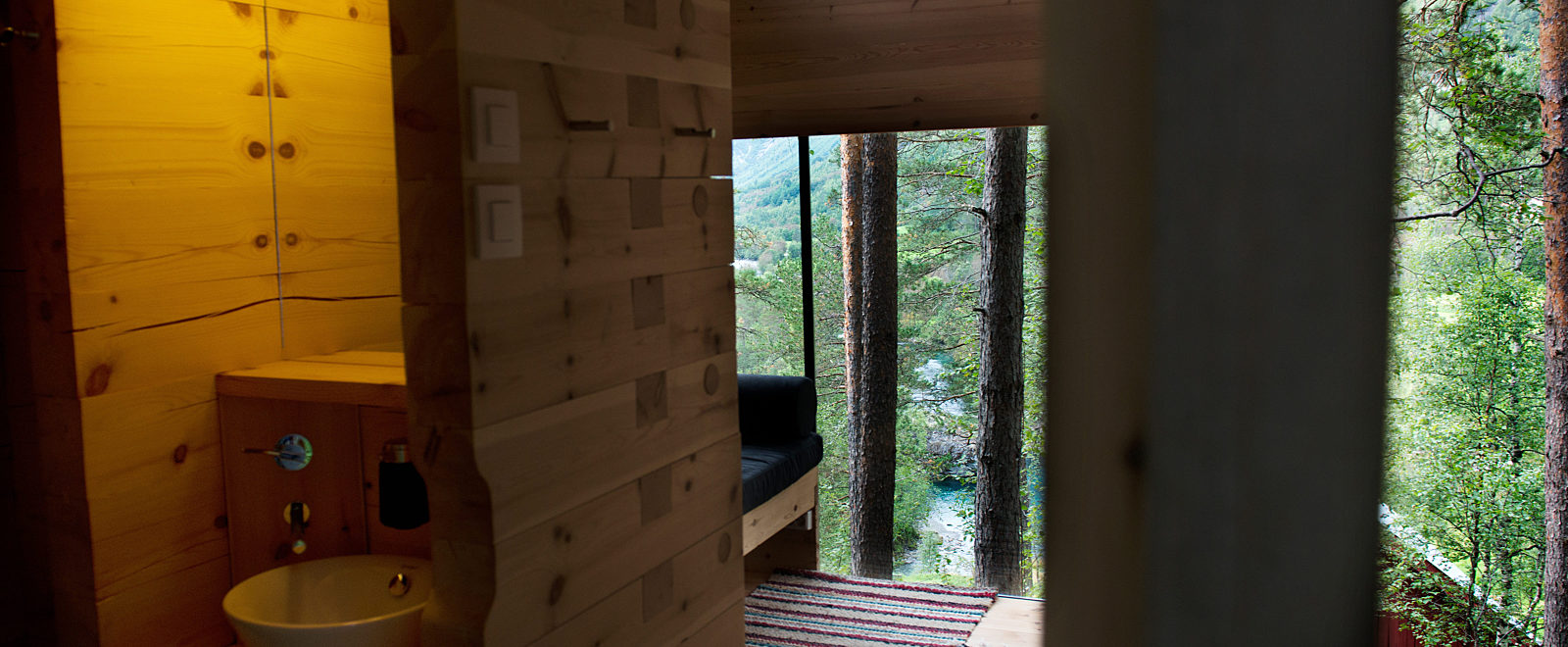 Interior view of a Bird House at Juvet Landscape Hotel.