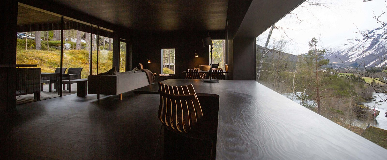 Interior view of Writer's Lodge at Juvet Landscape Hotel.